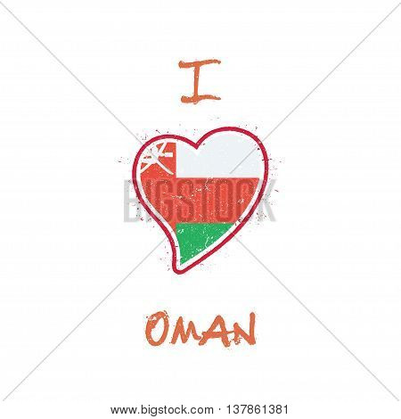 Omani Flag Patriotic T-shirt Design. Heart Shaped National Flag Oman On White Background. Vector Ill