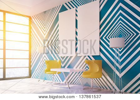 Modern interior with striped blue pattern wooden floor small table chairs floor lamps blank panel and window with city view. Toned image. Mock up 3D Rendering
