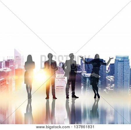 Business people silhouettes on New York city background with sunlight. Concept of teamwork and partnership. Double exposure