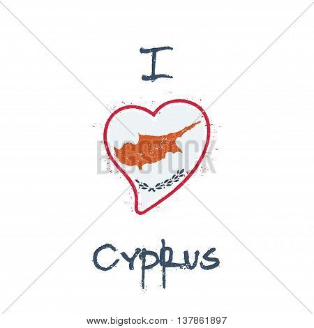 Cypriot Flag Patriotic T-shirt Design. Heart Shaped National Flag Cyprus On White Background. Vector