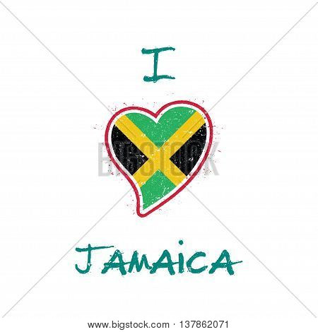 Jamaican Flag Patriotic T-shirt Design. Heart Shaped National Flag Jamaica On White Background. Vect