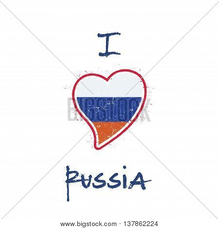 Russian Flag Patriotic T-shirt Design. Heart Shaped National Flag Russian Federation On White Backgr