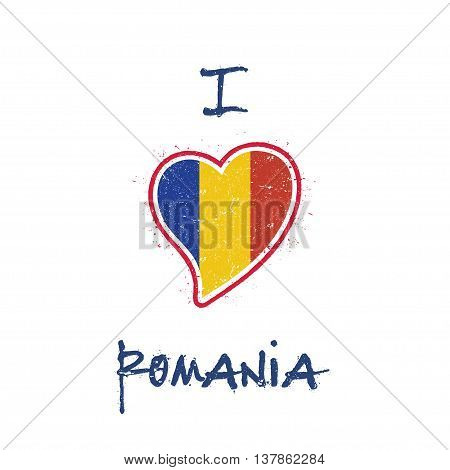 Romanian Flag Patriotic T-shirt Design. Heart Shaped National Flag Romania On White Background. Vect