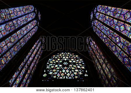 PARIS, FRANCE - MAY 13: Stained glass pattern in Sainte Chapelle on May 13, 2015 in Paris.