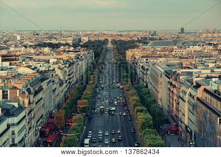 PARIS, FRANCE - MAY 13: Champs-Elysees street view on May 13, 2015 in Paris. With the population of 2M, Paris is the capital and most-populous city of France