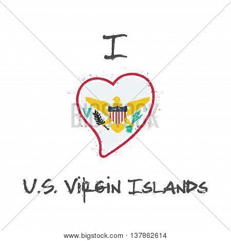 Virgin Islander Flag Patriotic T-shirt Design. Heart Shaped National Flag Virgin Islands, U.s. On Wh