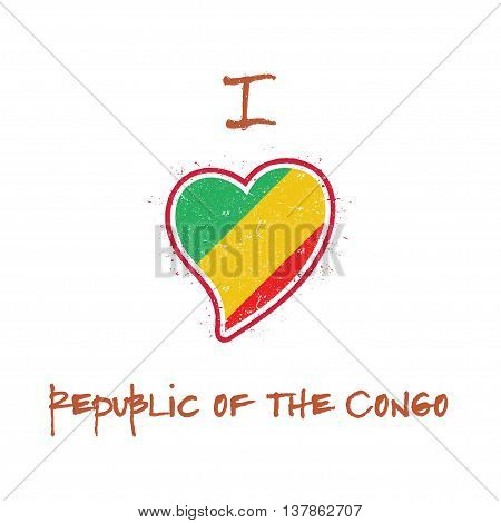 Congolese Flag Patriotic T-shirt Design. Heart Shaped National Flag Congo On White Background. Vecto