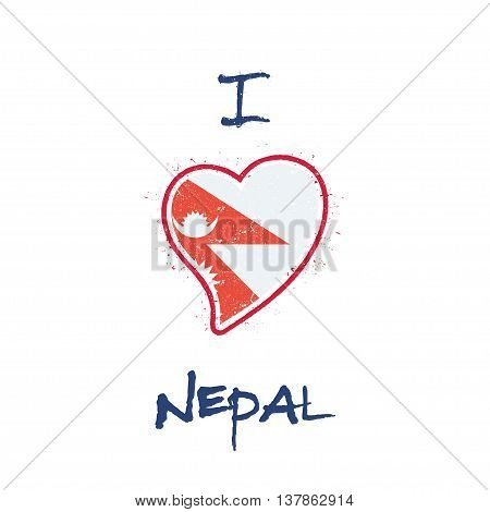Nepalese Flag Patriotic T-shirt Design. Heart Shaped National Flag Nepal On White Background. Vector