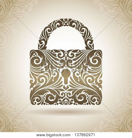 Vintage ornamental padlock. Decorative icon on a background with pattern