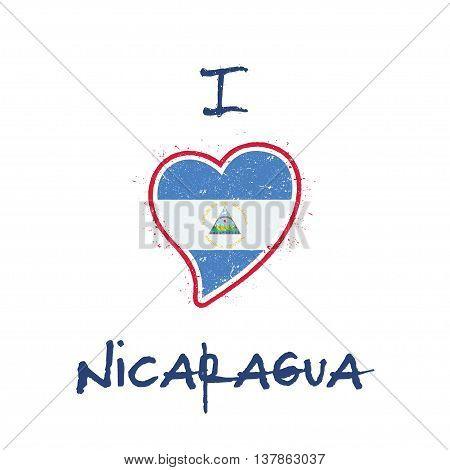 Nicaraguan Flag Patriotic T-shirt Design. Heart Shaped National Flag Nicaragua On White Background.