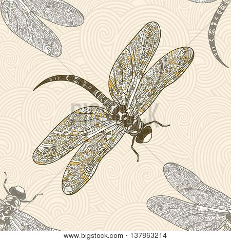 Seamless vector pattern with dragonfly on a tender beige background. Elegant decoration. Can be used for wallpaper, pattern fills, web page background, surface textures. Vector boho design