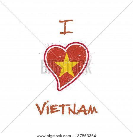 Vietnamese Flag Patriotic T-shirt Design. Heart Shaped National Flag Vietnam On White Background. Ve