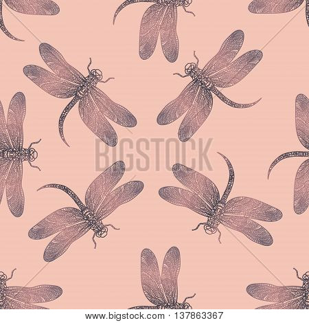 Seamless vector pattern with purple shiny dragonfly on a tender pink background. Elegant decoration. Can be used for wallpaper, pattern fills, web page background, surface textures. Vector boho design.