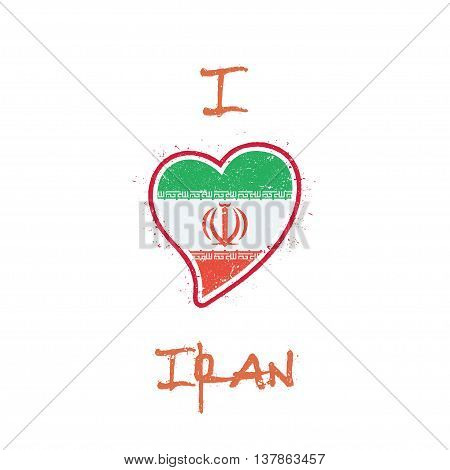 Iranian Flag Patriotic T-shirt Design. Heart Shaped National Flag Iran, Islamic Republic Of On White