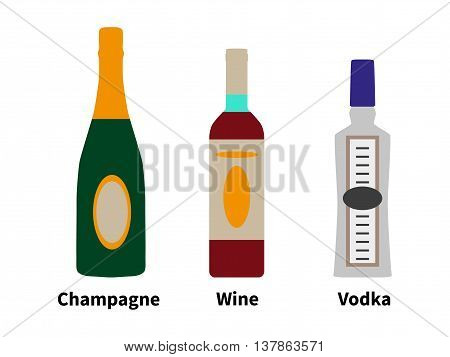 Vector illustration of the concept of strong drinks. Alcohol in a bottle of champagne, wine and vodka isolated on white background. Style flat.