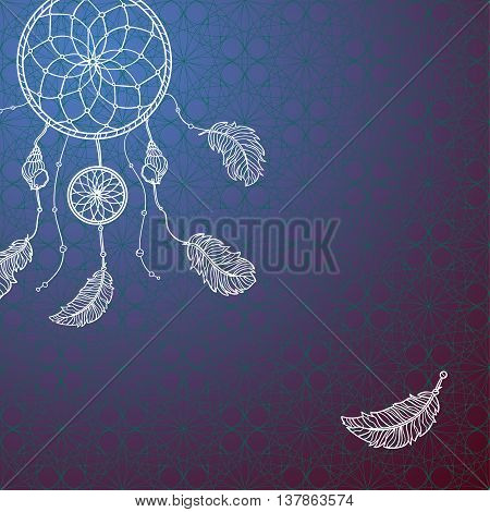 Hand drawn card with native Indian-American dream catcher. Zentangle isolated dream catcher. Boho styled. Vector