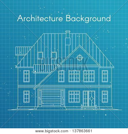 Vector illustration of family house or cottage. Architecture blueprint background. Large private cottage for real estate brochures or web icon.