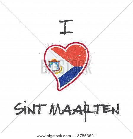 Dutch Flag Patriotic T-shirt Design. Heart Shaped National Flag Sint Maarten On White Background. Ve