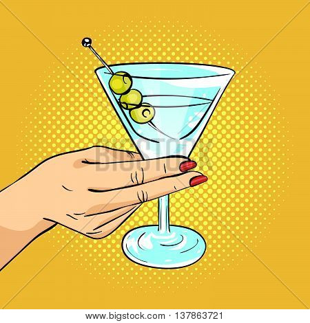 Vector hand drawn pop art illustration of woman hand holding Martini glass with olives. Retro style. Hand drawn sign. Illustration for print web.