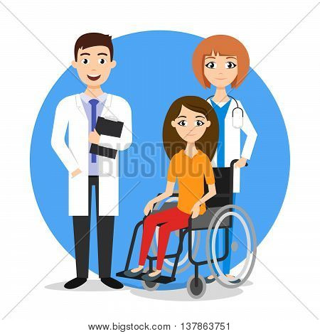 Vector illustration of disabled person in the wheelchair and doctors. Treatment for disabled. Wheelchair patient.