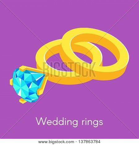 Vector illustration of two isometric wedding rings. Ring with diamond.
