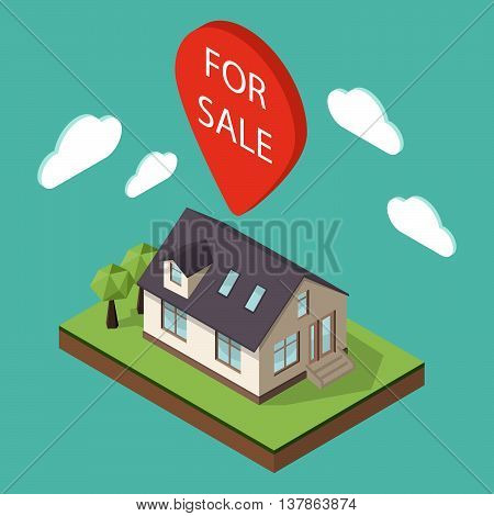 Vector illustration of isometric large private family cottage or house for real estate brochures or web icon. Map pointer over the house with the words
