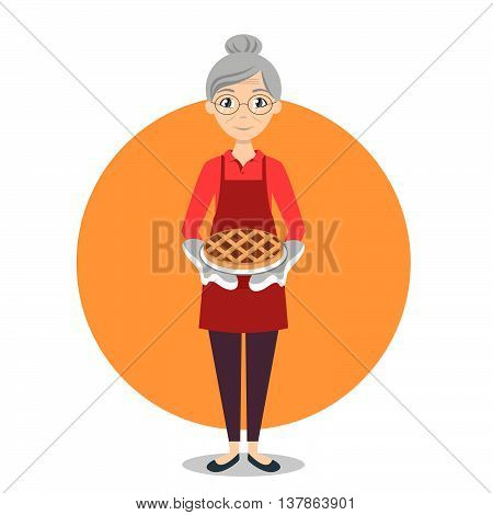 Vector illustration of grandma with sweet pie in her hands.