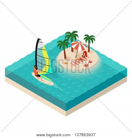 Vector isometric illustration of windsurfer. Tropical island on the sea. Man and woman on vacation. Concept for extreme sport.