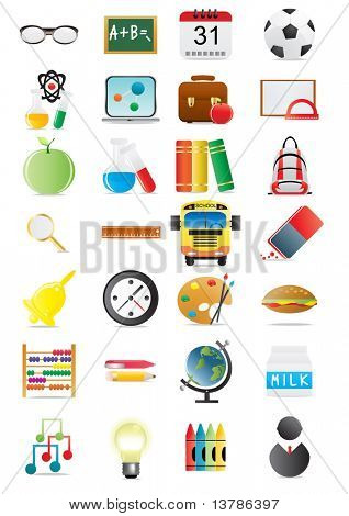 Vector illustration of collection of education icons