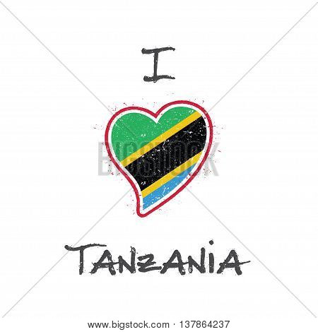 Tanzanian Flag Patriotic T-shirt Design. Heart Shaped National Flag Tanzania, United Republic Of On