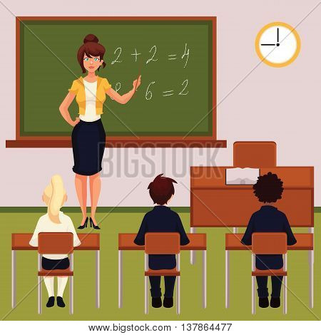 Teacher and pupils in classroom cartoon vector illustration. Classroom with green chalkboard desk tables and chairs. Math lesson in primary school with young attractive teacher