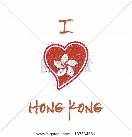 Chinese Flag Patriotic T-shirt Design. Heart Shaped National Flag Hong Kong On White Background. Vec