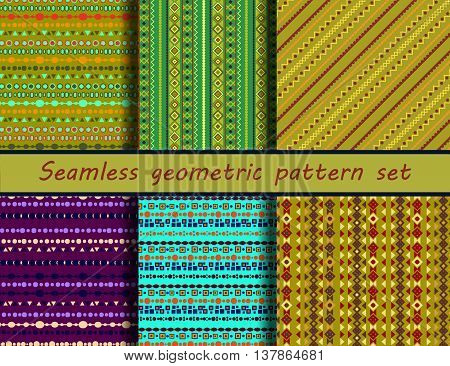 Seamless vector tribal texture set. Boho stripes. Seamless pattern collection. Vintage ethnic seamless backdrop. Striped vintage boho fashion style pattern background with tribal shape elements.