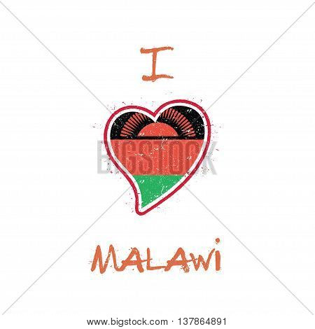 Malawian Flag Patriotic T-shirt Design. Heart Shaped National Flag Malawi On White Background. Vecto