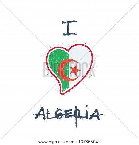 Algerian Flag Patriotic T-shirt Design. Heart Shaped National Flag Algeria On White Background. Vect