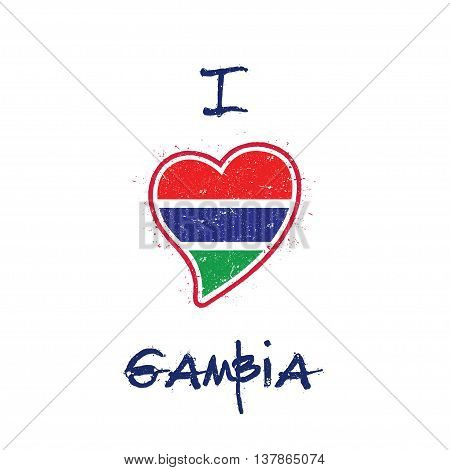 Gambian Flag Patriotic T-shirt Design. Heart Shaped National Flag Gambia On White Background. Vector