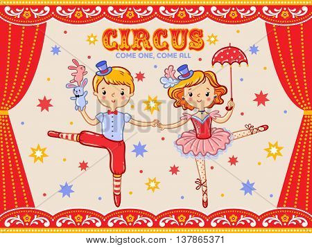 Vector circus poster with a boy and a girl.
