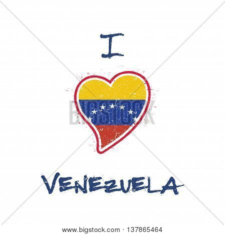Venezuelan Flag Patriotic T-shirt Design. Heart Shaped National Flag Venezuela, Bolivarian Republic