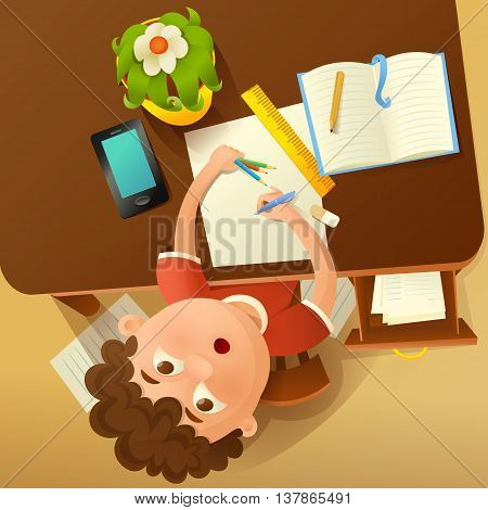 Back to school concept illustration with student boy. Top view. Vector illustration