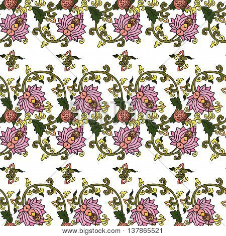 Chinese traditonal seamless pattern with flowers on white background. Vector design for textile wallpaper fabric packaging covers and others