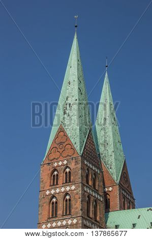 Towers of the Marienkirche in Lubeck Germany