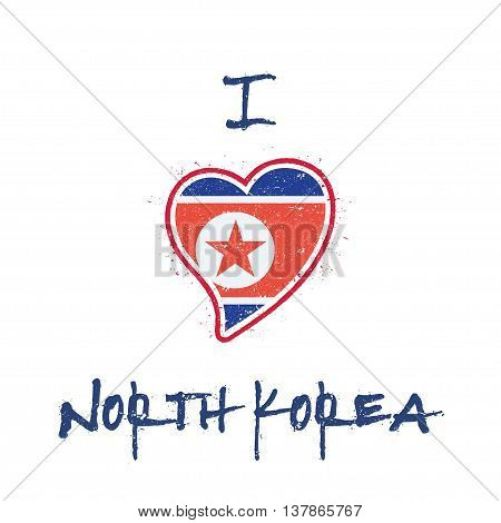 North Korean Flag Patriotic T-shirt Design. Heart Shaped National Flag Korea, Democratic People's Re