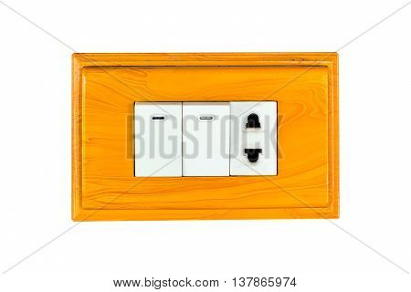Electrical Switch And Plug On Wooden Socket. Isolated On White Background With Copy Space