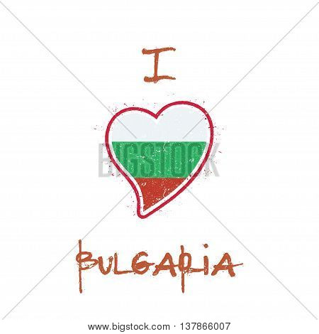 Bulgarian Flag Patriotic T-shirt Design. Heart Shaped National Flag Bulgaria On White Background. Ve