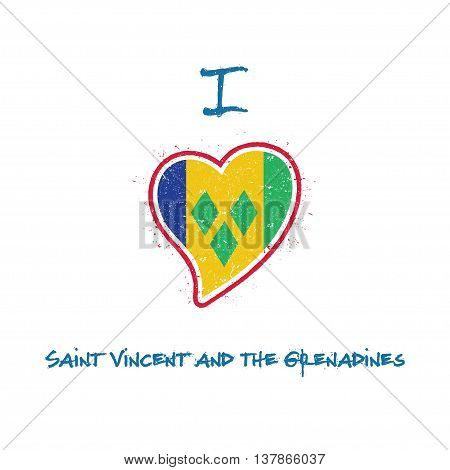 Saint Vincentian Flag Patriotic T-shirt Design. Heart Shaped National Flag Saint Vincent And The Gre