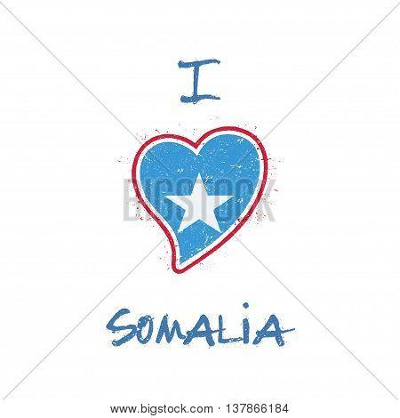 Somali Flag Patriotic T-shirt Design. Heart Shaped National Flag Somalia On White Background. Vector