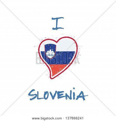 Slovene Flag Patriotic T-shirt Design. Heart Shaped National Flag Slovenia On White Background. Vect