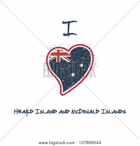 Heard And Mcdonald Islander Flag Patriotic T-shirt Design. Heart Shaped National Flag Heard And Mcdo
