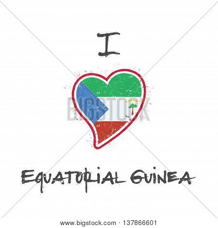 Equatorial Guinean Flag Patriotic T-shirt Design. Heart Shaped National Flag Equatorial Guinea On Wh