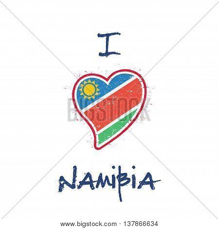 Namibian Flag Patriotic T-shirt Design. Heart Shaped National Flag Namibia On White Background. Vect